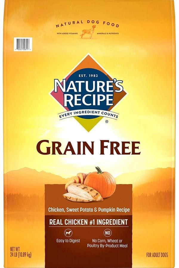 Nature's Recipe Grain-Free Chicken, Sweet Potato & Pumpkin Recipe Dry Dog Food (24 Pounds)