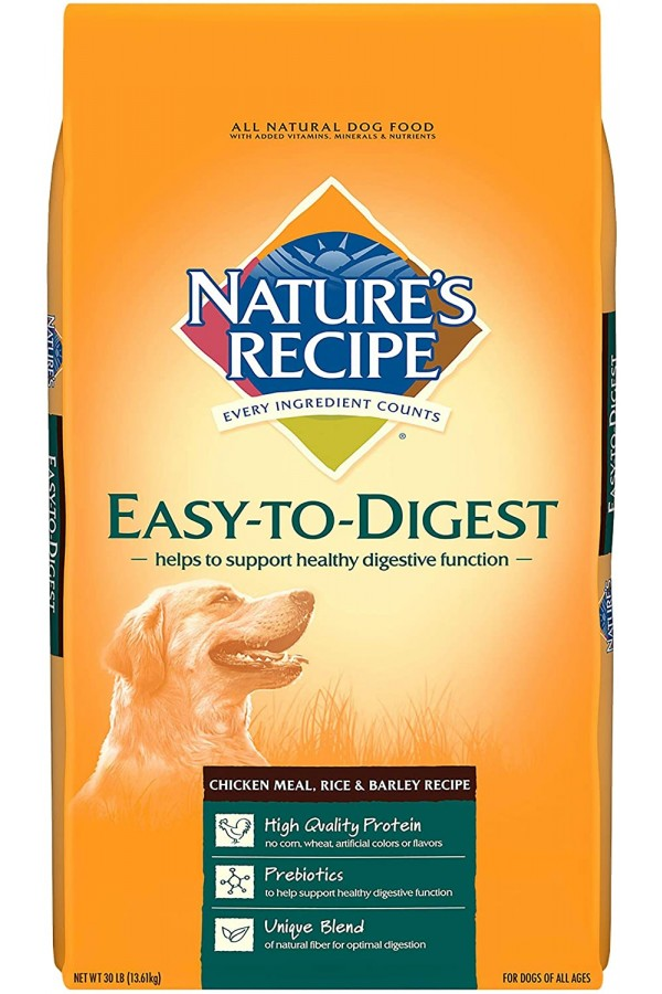 Nature's Recipe Chicken Meal, Rice & Barley Recipe Dry Dog Food, Easy to Digest (30 Pounds)