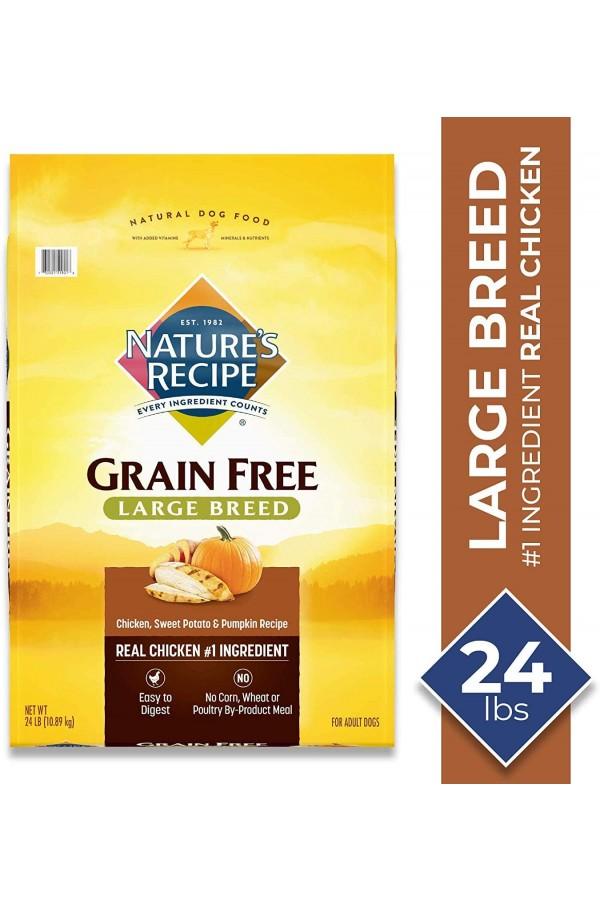Nature's Recipe Grain Free Dry Dog Food Large Breed Chicken, Sweet Potato & Pumpkin Recipe (24 Pounds)