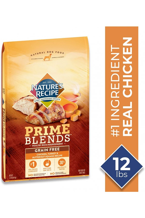 Nature's Recipe Prime Blends Chicken, Turkey, and Butternut Squash Recipe Grain-Free Dry Dog Food (12 Pounds)