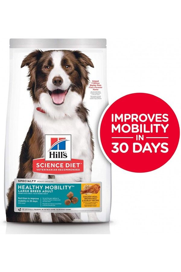 Hill's Science Diet Dry Dog Food, Adult, Large Breed, Healthy Mobility for Joint Health, Chicken Meal, Brown Rice & Barley Recipe