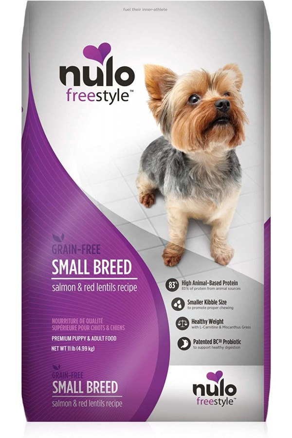 Nulo Small Breed Grain Free Dry Dog Food with BC30 Probiotic, Salmon & Red Lentils Recipe