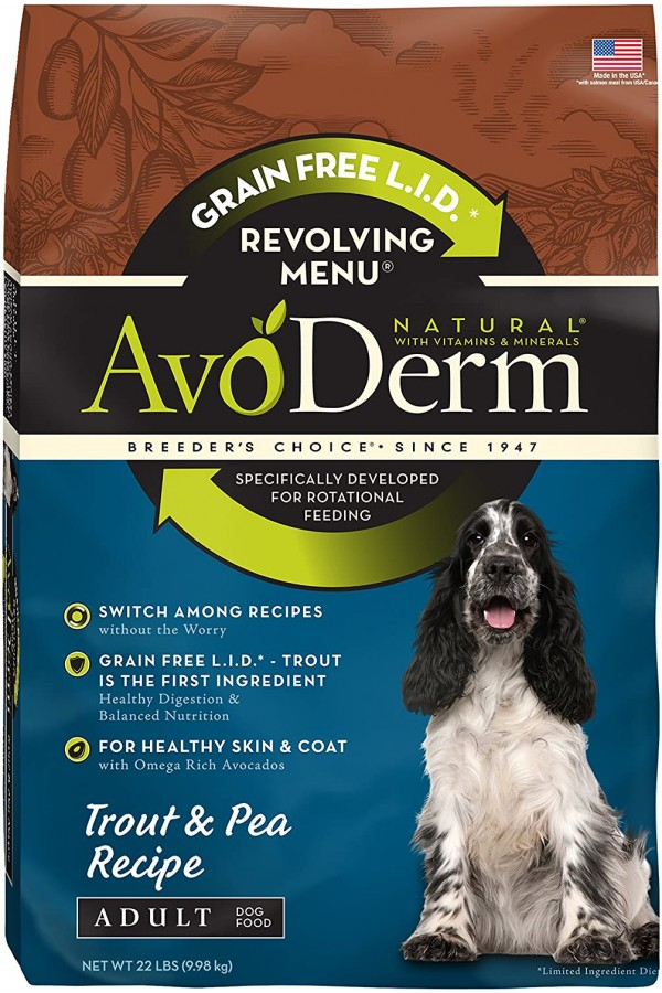AvoDerm Natural Revolving Menu Dry Dog Food for Rotational Feeding, Food Intolerance and Sensitivities, Trout & Pea