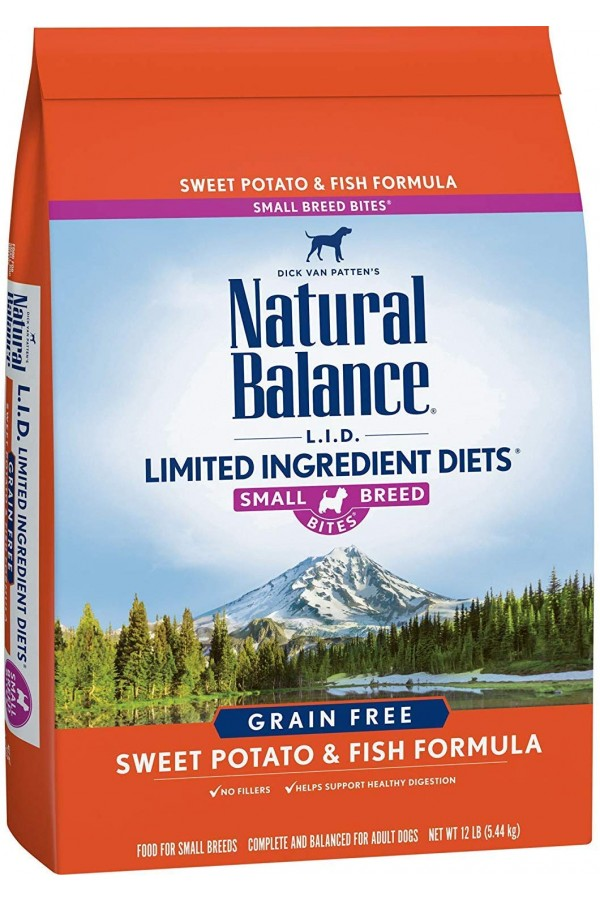 Natural Balance L.I.D. Limited Ingredient Diets Sweet Potato & Fish Small Breed Bites Dog Food (12 pounds)
