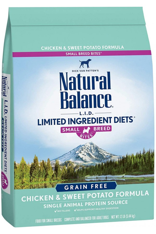 Natural Balance L.I.D. Limited Ingredient Diets Sweet Potato & Chicken Small Breed Bites Dog Food (12 pounds)