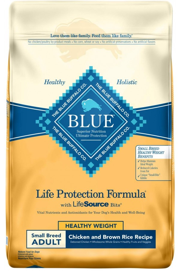 Blue Buffalo Small Breed Healthy Weight Chicken & Brown Rice Adult Dog Food (15 pounds)