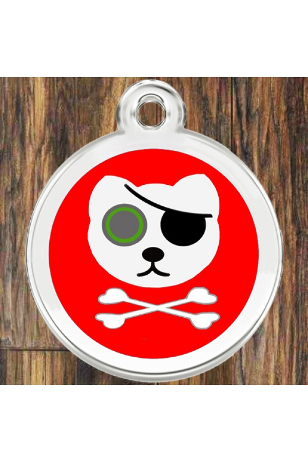 Enamel Round Pirate Cat