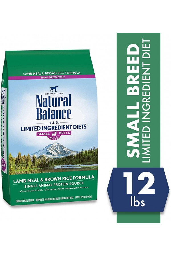 Natural Balance L.I.D. Limited Ingredient Diets Lamb & Rice Small Breed Bites Dog Food (12 pounds)