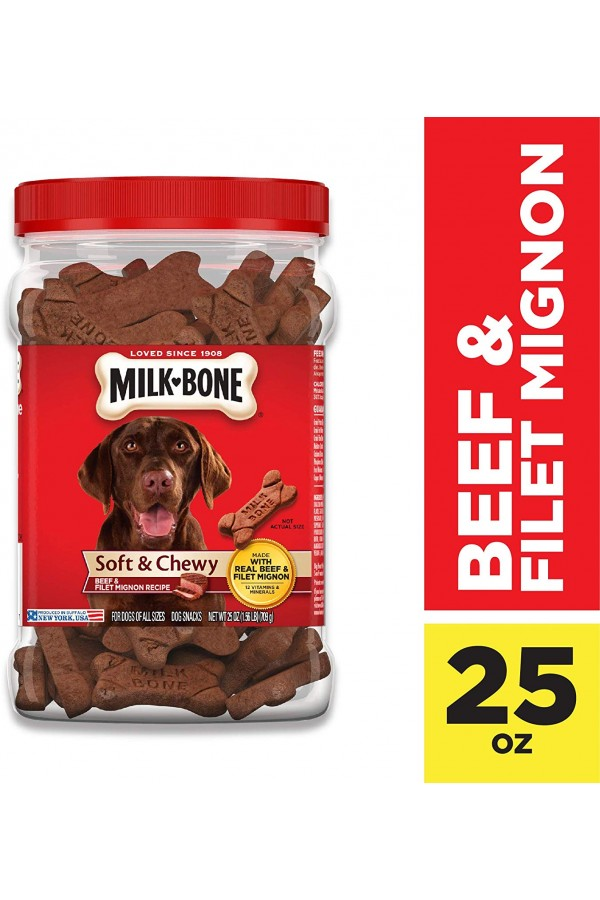 Milk-Bone Soft & Chewy Dog Treats with 12 Vitamins and Minerals (Beef & Filet Mignon)