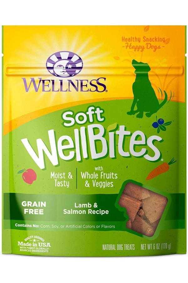Wellness Grain-Free Natural Wellbites Soft Dog Treats (Lamb & Salmon Recipe)