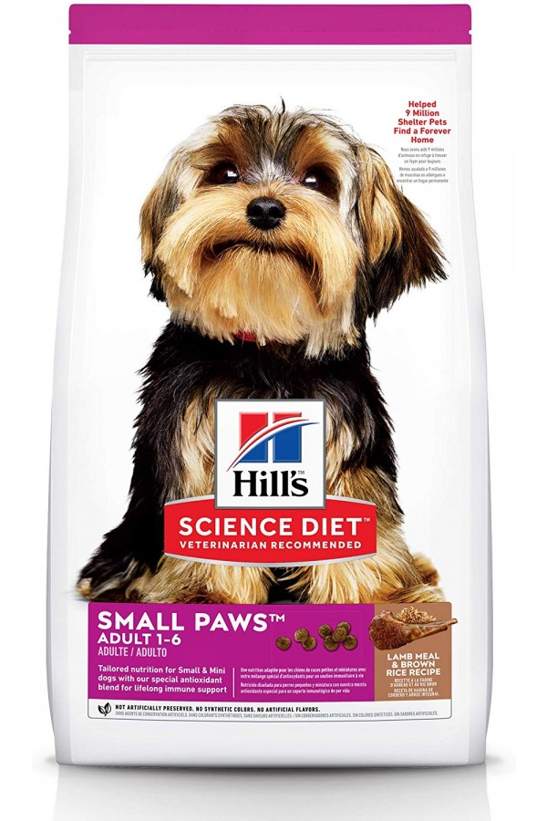 Hill's Science Diet Dry Dog Food, Adult, Small Paws for Small Breed Dogs (Lamb Meal & Brown Rice)