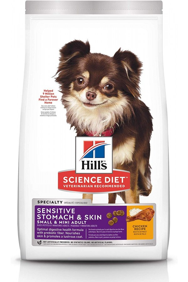 Hill's Science Diet Dry Dog Food, Adult, Small & Mini Breeds, Sensitive Stomach & Skin (Chicken Recipe)