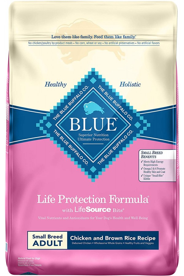 Blue Buffalo Life Protection Formula Small Breed Dog Food – Natural Dry Dog Food for Adult Dogs – Chicken and Brown Rice