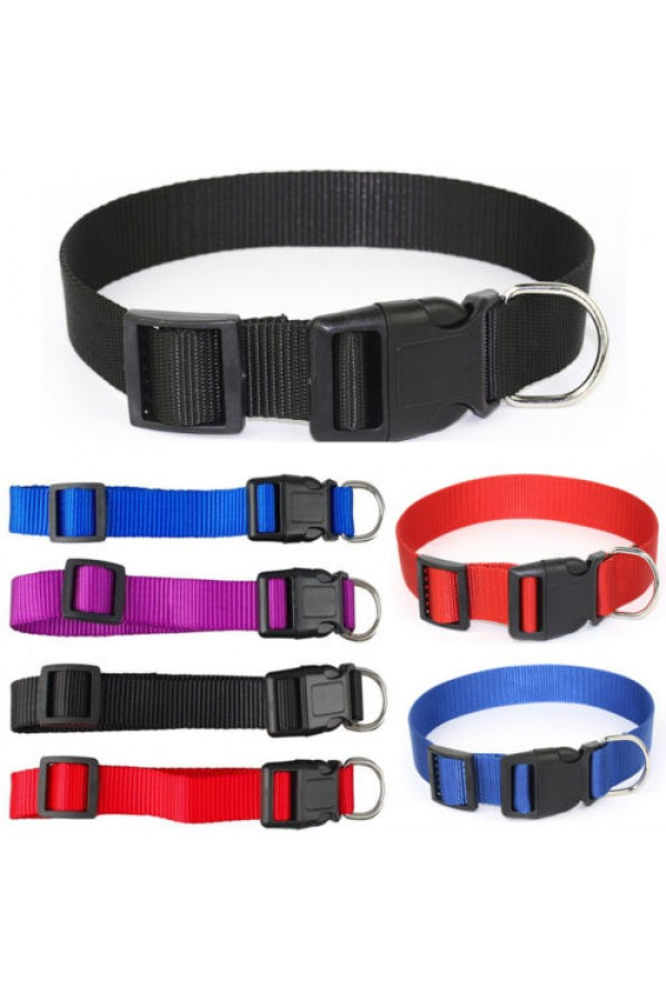 Pet Collars - Basic Collars For Dogs and Cats, Adjustable Sizes and Colors, Premium Nylon