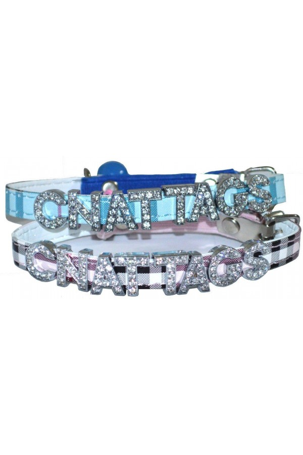 PETNOVO - Personalized Pet collar with Rhinestones Letters and Bell Dog Collars Cat Collas