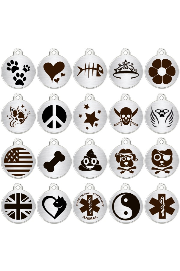 CNATTAGS Stainless Steel Pet ID Tags Personalized Designers Round Various Designs