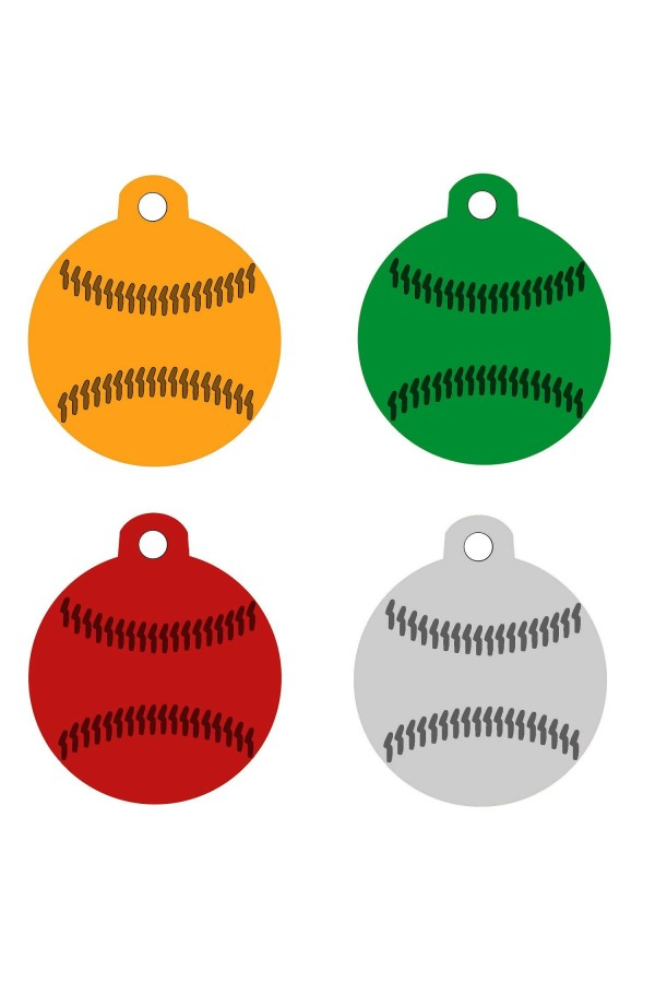 CNATTAGS - ALUMINUM ROUND BASEBALL PERSONALIZED ENGRAVED PET ID TAG