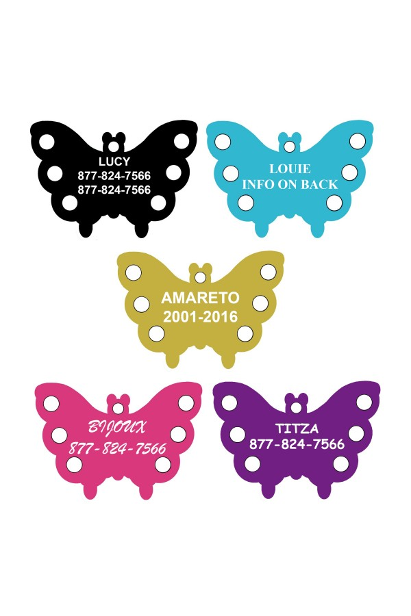 CNATTAGS Pet ID Tags Butterfly Shape, 5 Colors, Personalized Premium Aluminum