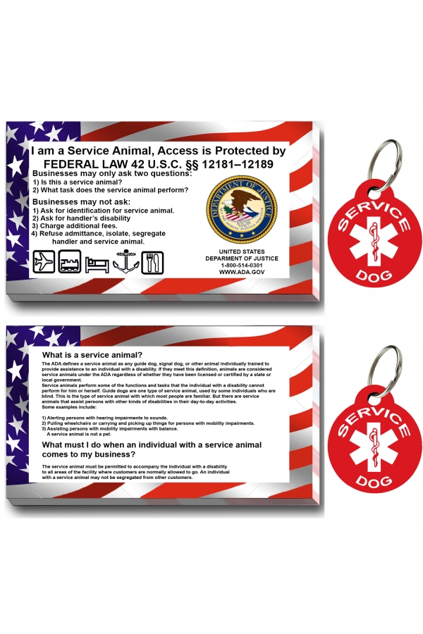 CNATTAGS - Service Dog ID Tag Kit,  (50 ADA Info Cards + Round Tags)