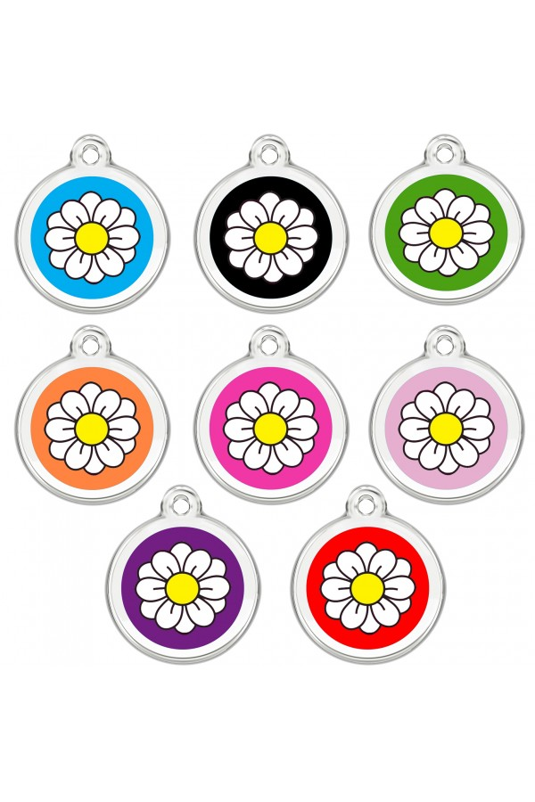 CNATTAGS Personalized Stainless Steel with Enamel Pet ID Tags Designers Round Daisy