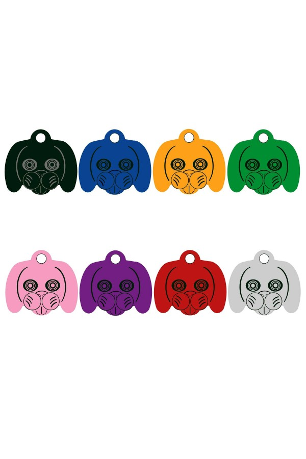 CNATTAGS - ALUMINUM DOG FACE PERSONALIZED ENGRAVED PET ID TAG
