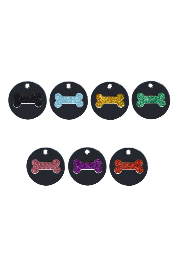 CNATTAGS - STAINLESS STEEL DESIGNERS GLITTER ENAMEL ROUND BONE PERSONALIZED ENGRAVED PET ID TAG