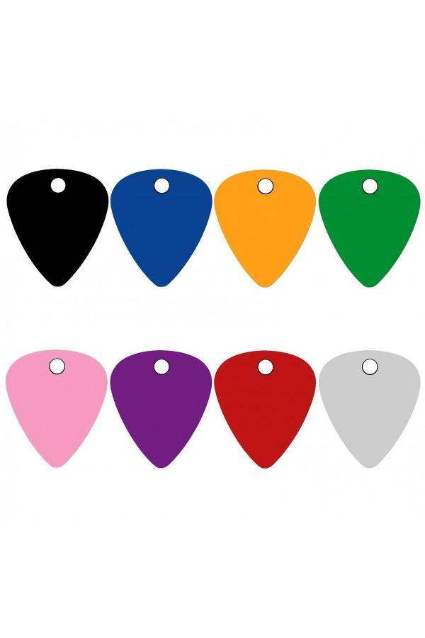 CNATTAGS - ALUMINUM GUITAR PICK PERSONALIZED ENGRAVED PET ID TAG