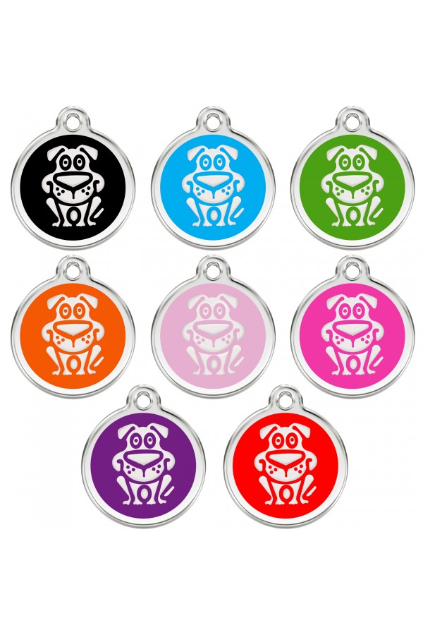 CNATTAGS Personalized Stainless Steel with Enamel Pet ID Tags Designers Round Dog Main