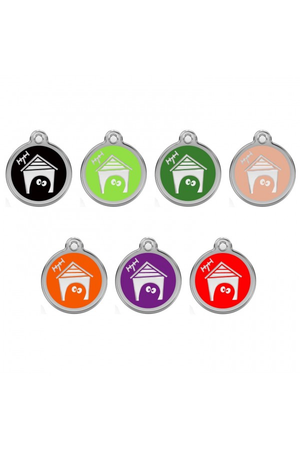 CNATTAGS - STAINLESS STEEL DESIGNERS ROUND HOUSE PERSONALIZED ENGRAVED PET ID TAG