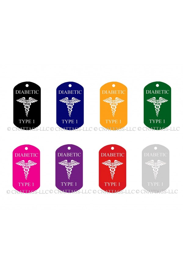 CNATTAGS - ALUMINUM GI MILITARY MEDICAL ALERT DIABETIC TYPE 1 PERSONALIZED ENGRAVED ID TAG