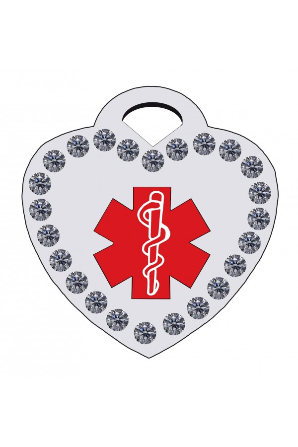 CNATTAGS - STAINLESS STEEL DESIGNERS CRYSTAL HEART MEDICAL ALERT PERSONALIZED ENGRAVED PET ID TAG