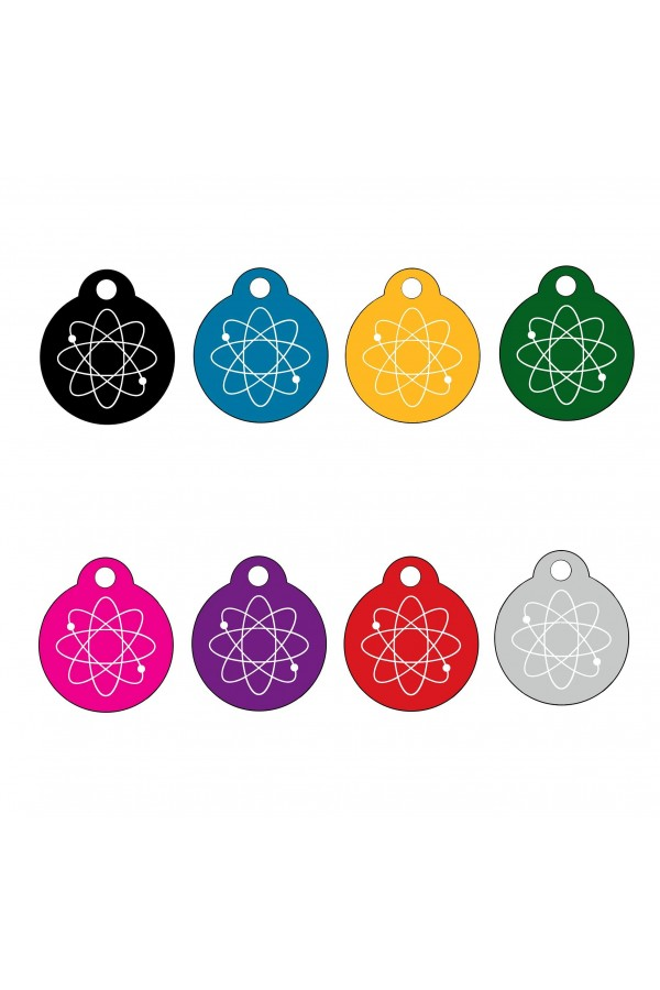CNATTAGS - ALUMINUM ROUND ATOM PERSONALIZED ENGRAVED PET ID TAG