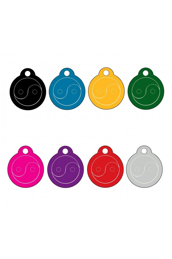 CNATTAGS - ALUMINUM ROUND YIN AND YANG SIGN PERSONALIZED ENGRAVED PET ID TAG