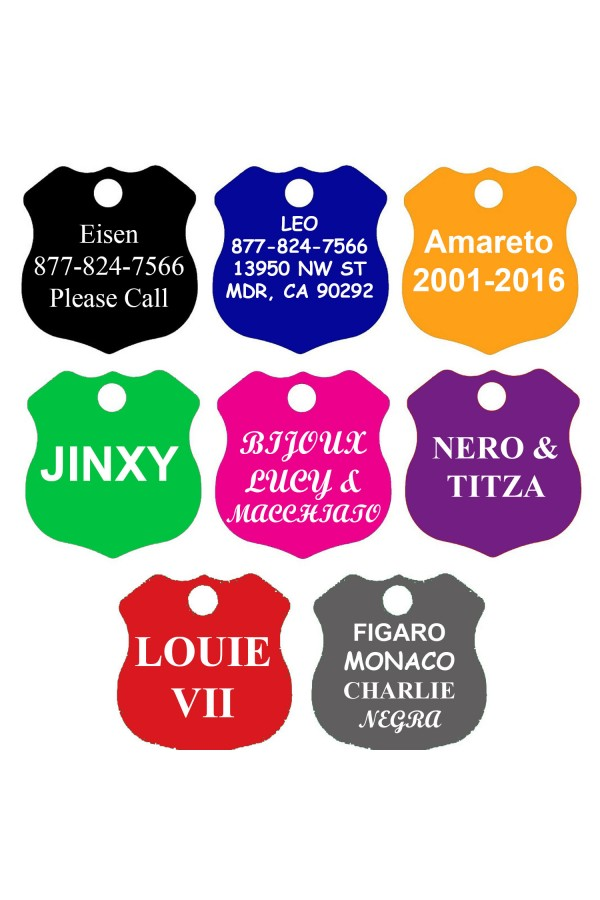 CNATTAGS Pet ID Tags Shield Shape, 8 Colors, Personalized Premium Aluminum …
