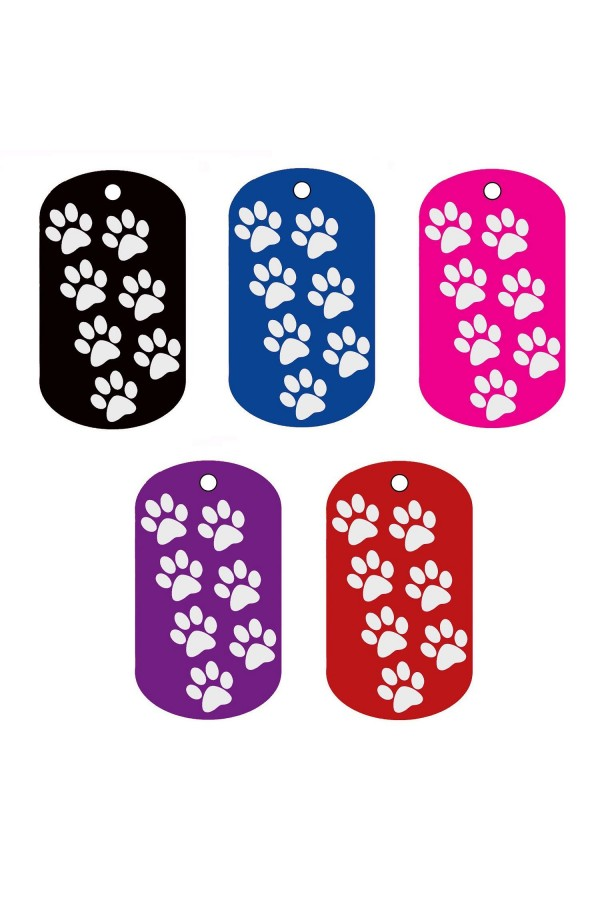 CNATTAGS - ALUMINUM GI MILITARY WALKING PAWS PERSONALIZED ENGRAVED PET ID TAG