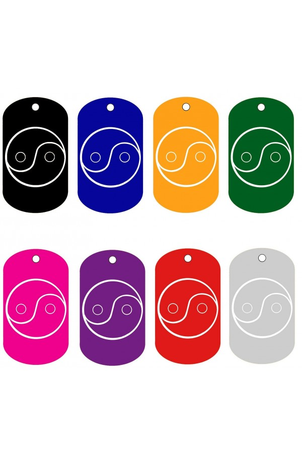 CNATTAGS - ALUMINUM GI MILITARY YIN AND YANG SIGN PERSONALIZED ENGRAVED PET ID TAG