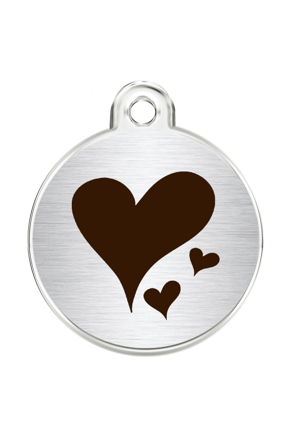 CNATTAGS Stainless Steel Pet ID Tags Personalized Designers Round Various Designs (Hearts)