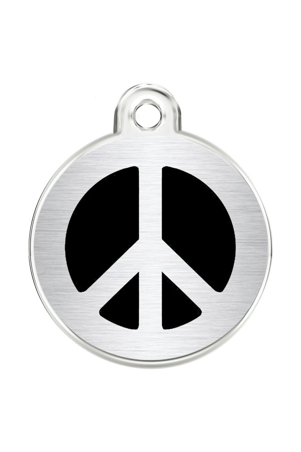 CNATTAGS Stainless Steel Pet ID Tags Personalized Designers Round Various Designs (Peace)