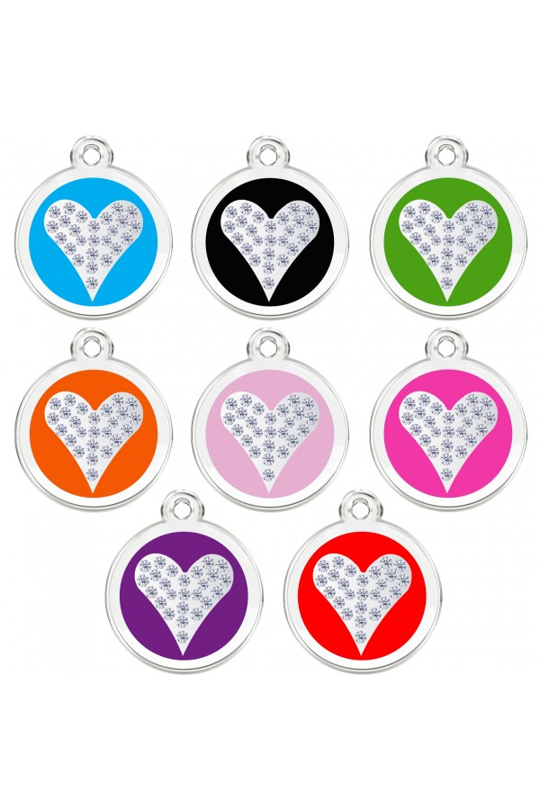 CNATTAGS Stainless Steel with Enamel Pet ID Tags Personalized Designers Round Crystal Heart