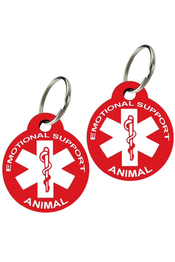 Emotional Support Animal Pet Tags (Round) (Set of 2)