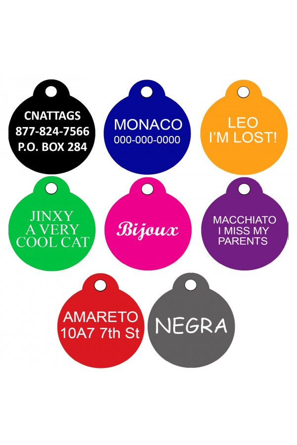 CNATTAGS Pet ID Tags Round Shape, 2 Sizes, 8 Colors, Personalized Premium Aluminum
