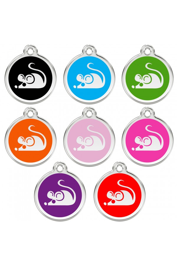 CNATTAGS Personalized Stainless Steel with Enamel Pet ID Tags Designers Round Mouse Main