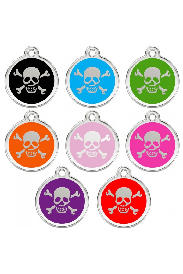 CNATTAGS Personalized Stainless Steel with Enamel Pet ID Tags Designers Round Skull Main