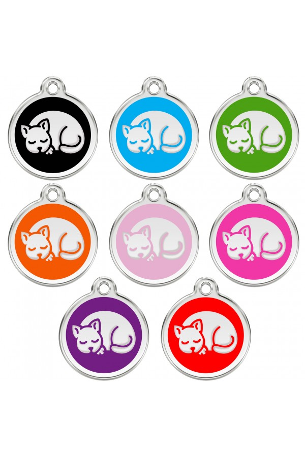CNATTAGS Personalized Stainless Steel with Enamel Pet ID Tags Designers Round Cat