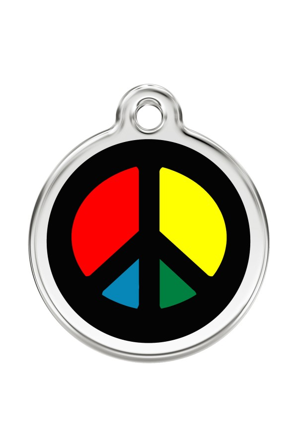 CNATTAGS Personalized Stainless Steel with Enamel Pet ID Tags Designers Round Peace Sign Black