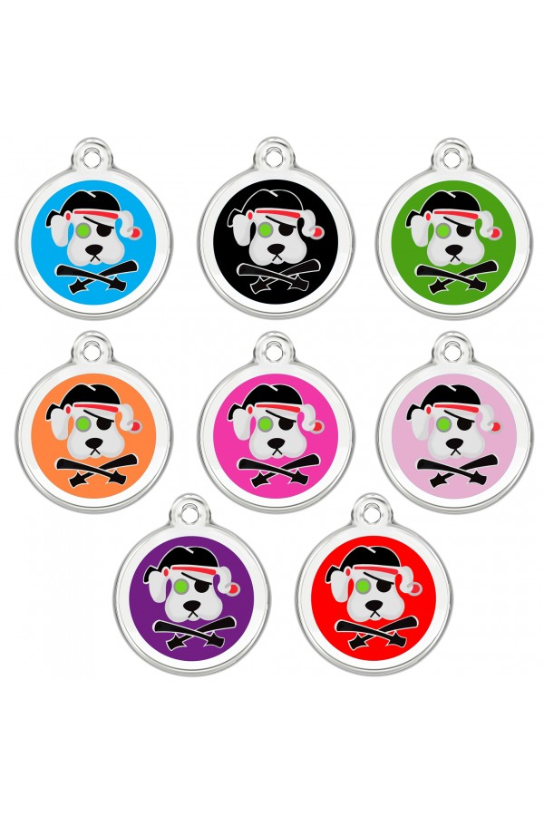 CNATTAGS Personalized Stainless Steel with Enamel Pet ID Tags Designers Round Pirate Dog