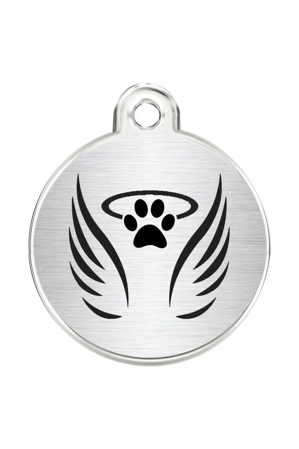CNATTAGS Stainless Steel Pet ID Tags Personalized Designers Round Various Designs (Angel)