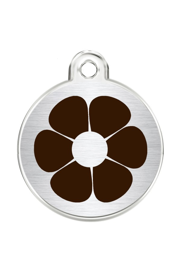 CNATTAGS Stainless Steel Pet ID Tags Personalized Designers Round Various Designs (Daisy)