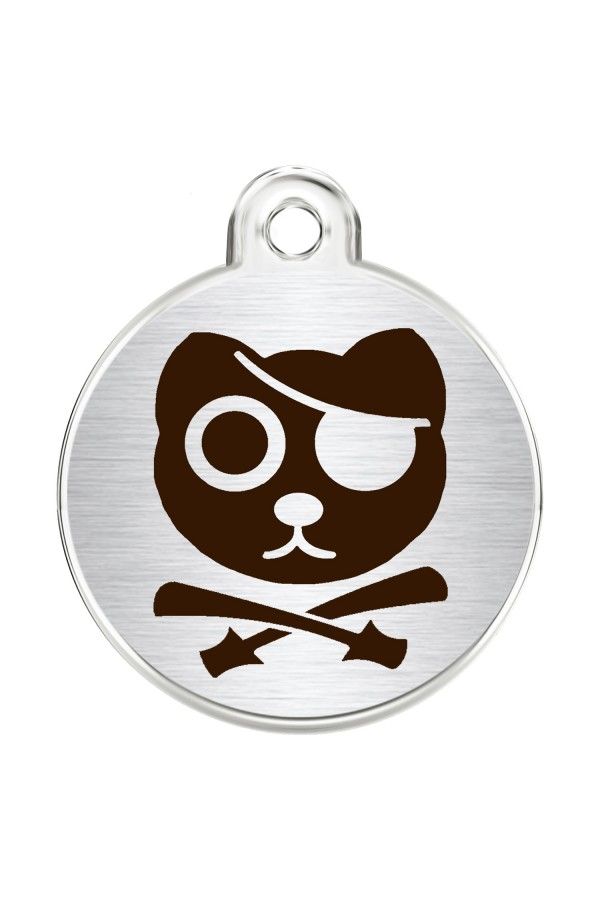 CNATTAGS Stainless Steel Pet ID Tags Personalized Designers Round Various Designs (Pirate Cat)