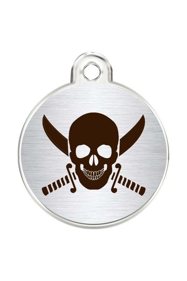 CNATTAGS Stainless Steel Pet ID Tags Personalized Designers Round Various Designs (Skull)